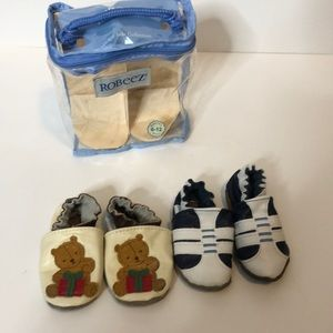 Robeez Two Pair Soft Sole Collection 0-6 Months
